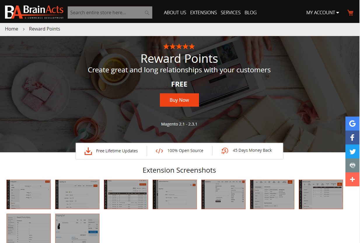 Magento 2 Reward Point Extension By BrainActs
