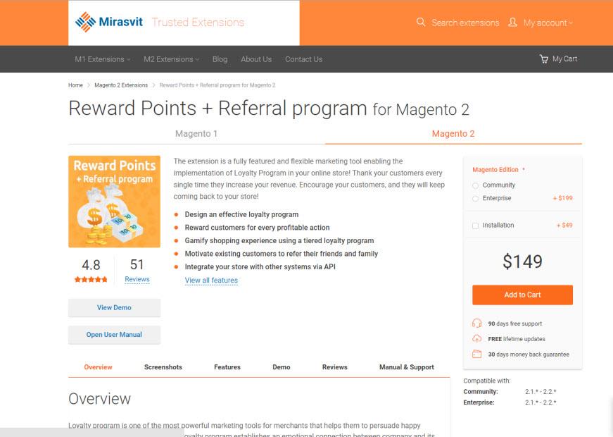 reward point by mirasvit
