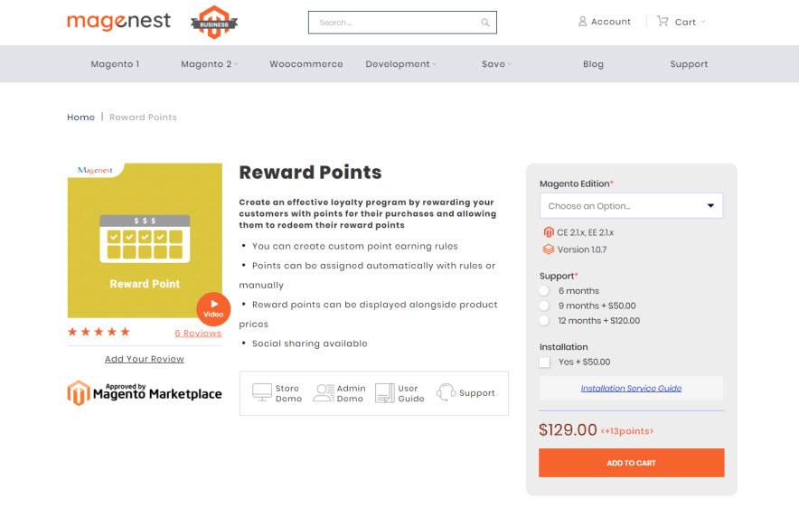 reward pont by magenest