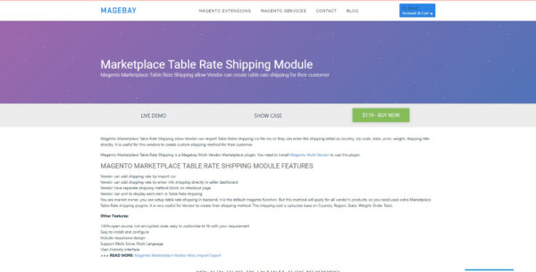 Marketplace table rate shipping module for magento 2