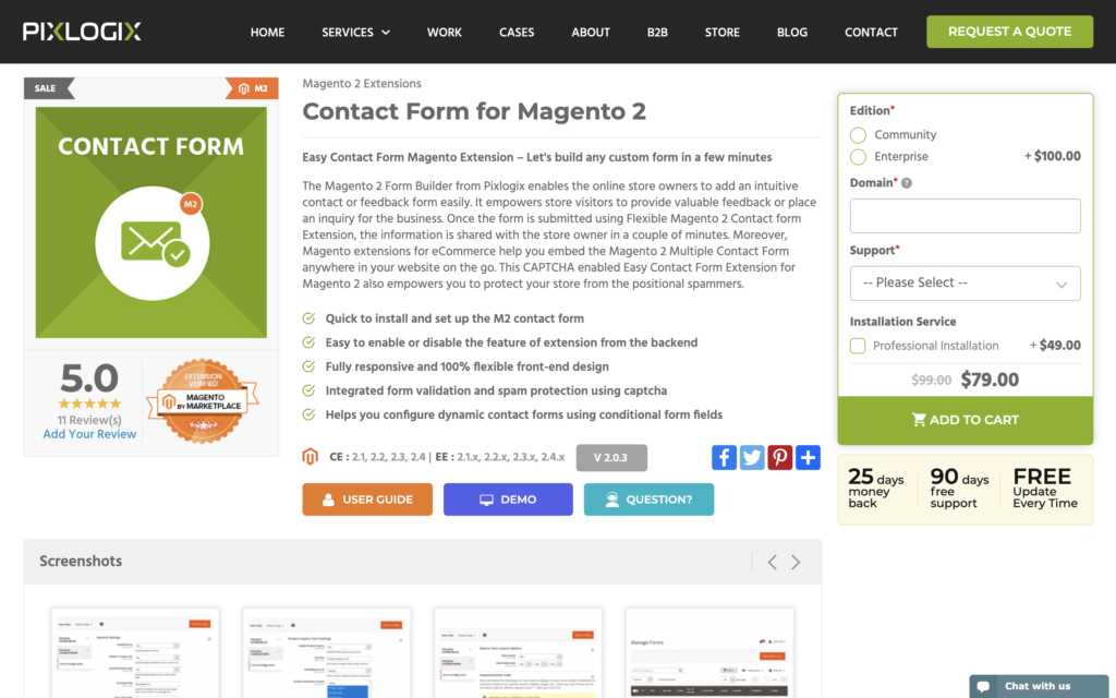 Magento 2 contact form builder from pixlogix