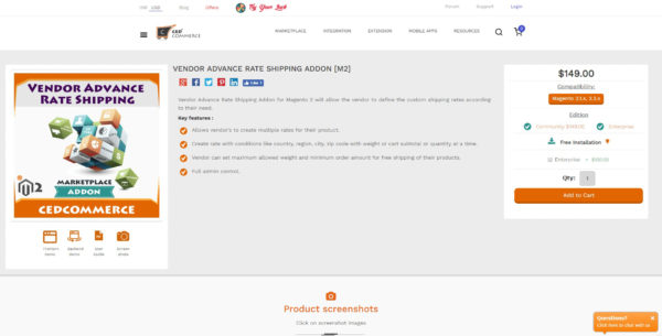 Magento 2 Vendor advance rate shipping addon