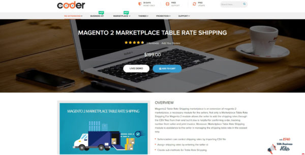 Landofcoder Magento 2 marketplace table rate shipping