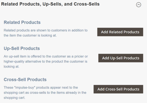 Magento 2 marketplace pro supports related products, up-sells, and cross-sells suggesting