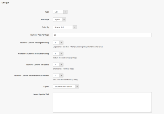 Set blog design with magennto 2 marketplace pro