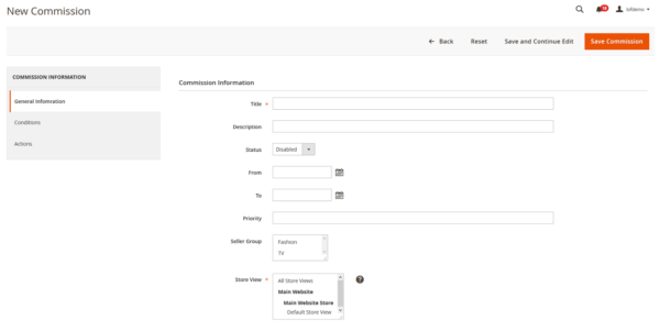 Add new commission in Magento 2 marketplace pro