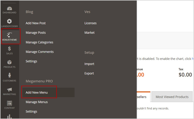 create magento 2 new menu