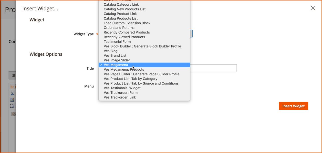 add menu widget magento 2. step 4