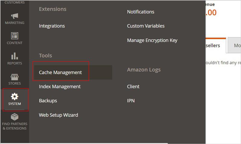 cache management magento 2
