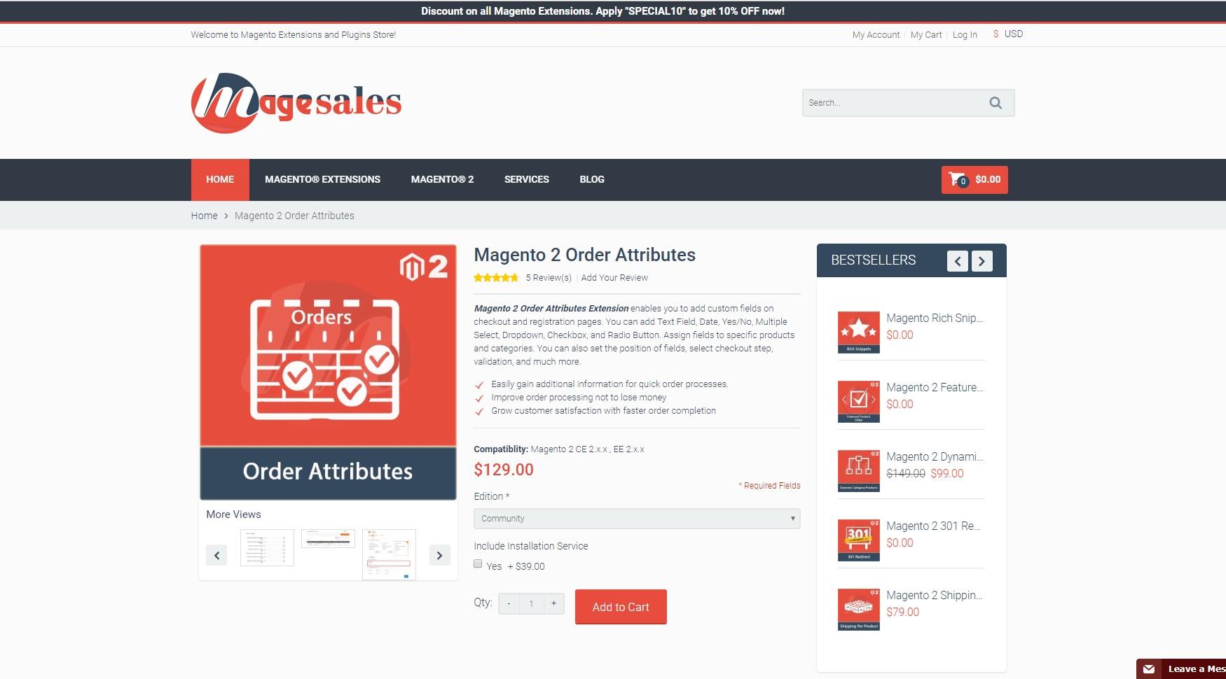 magesales magento 2 order attributes