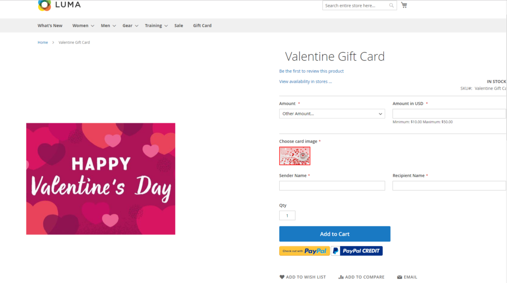 A gift card product for sale