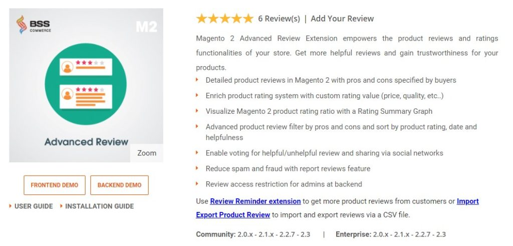 Magento 2 advanced review extension for online store