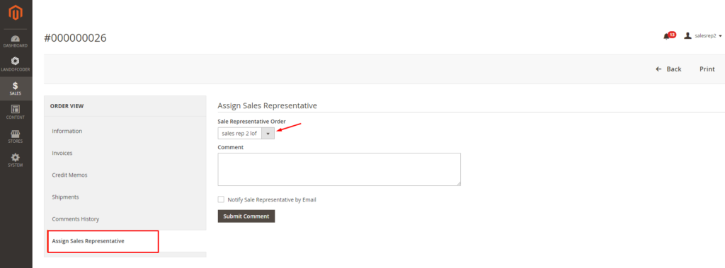 Assign sales dealers to orders in the backend of Magento 2 Sales Rep Extension