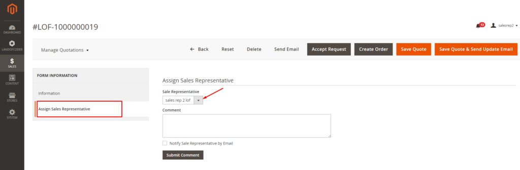 Assign dealers to customer quotations in the backend of Magento 2 Sales Rep Extension