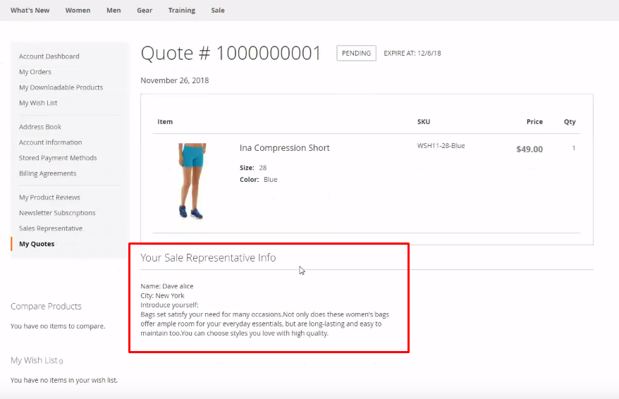 Customers check the sales rep information in their quotes with Magento 2 Sales Rep Extension