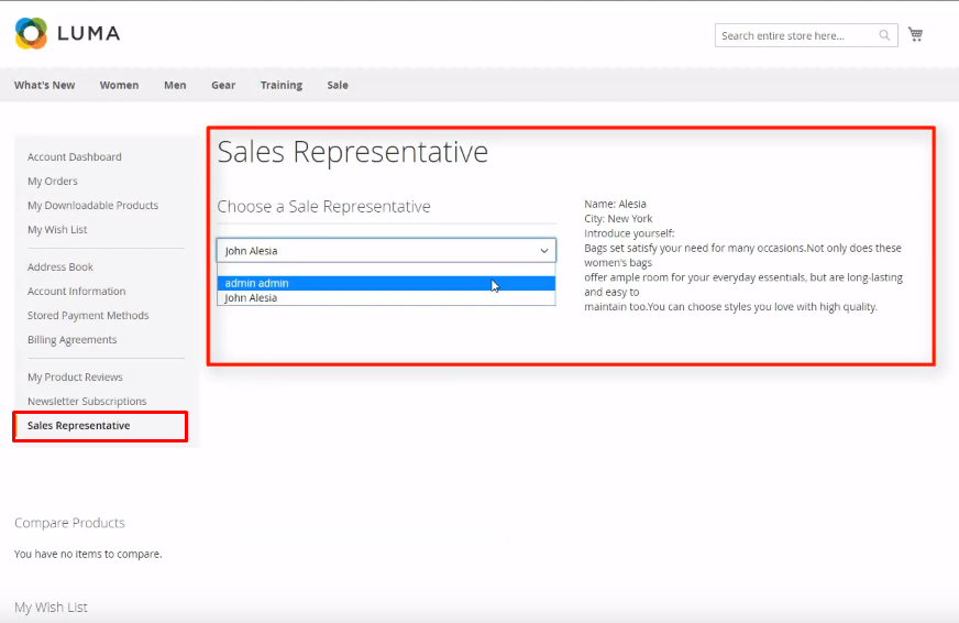 Customers choose a sale rep in their dashboard with Magento 2 Sales Rep Extension