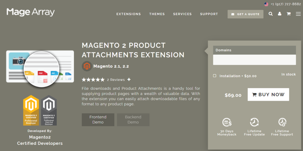 magearray magento 2 product attachments extension