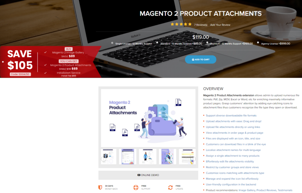 Landofcoder magento 2 product attachments