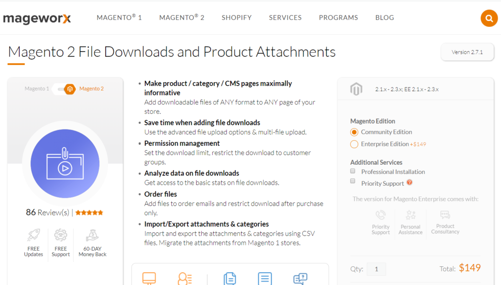 mageworx magento 2 file downloads and product attachments