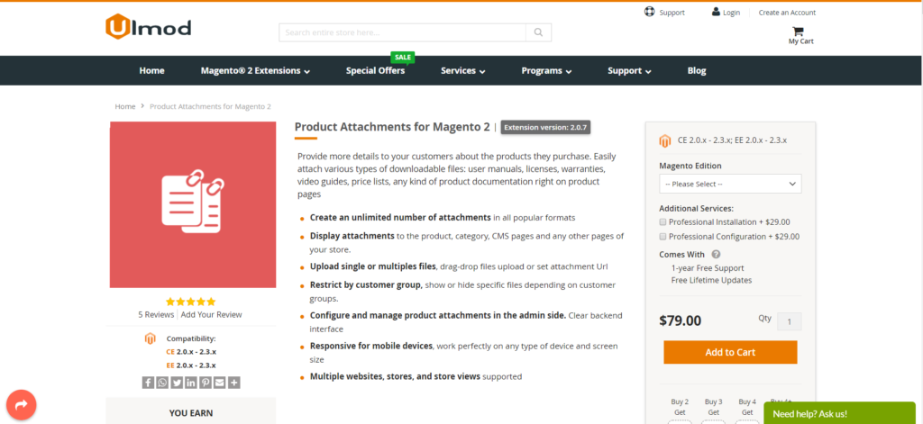 ulmod magento 2 product attachment