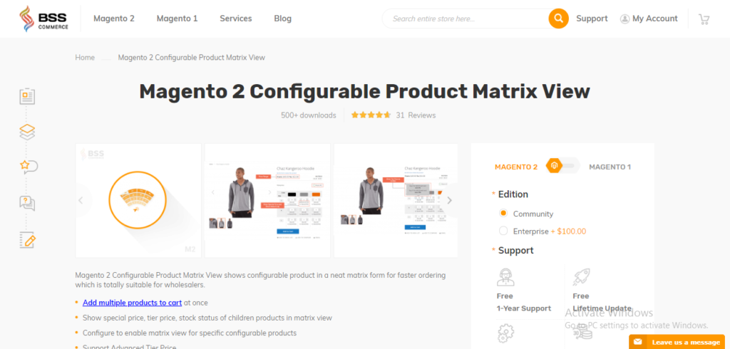 Magento 2 Configurable Product Matrix View Extension