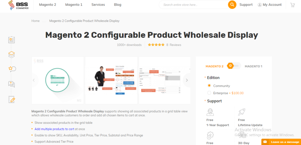 Magento 2 Configurable Product Wholesale Display Extension