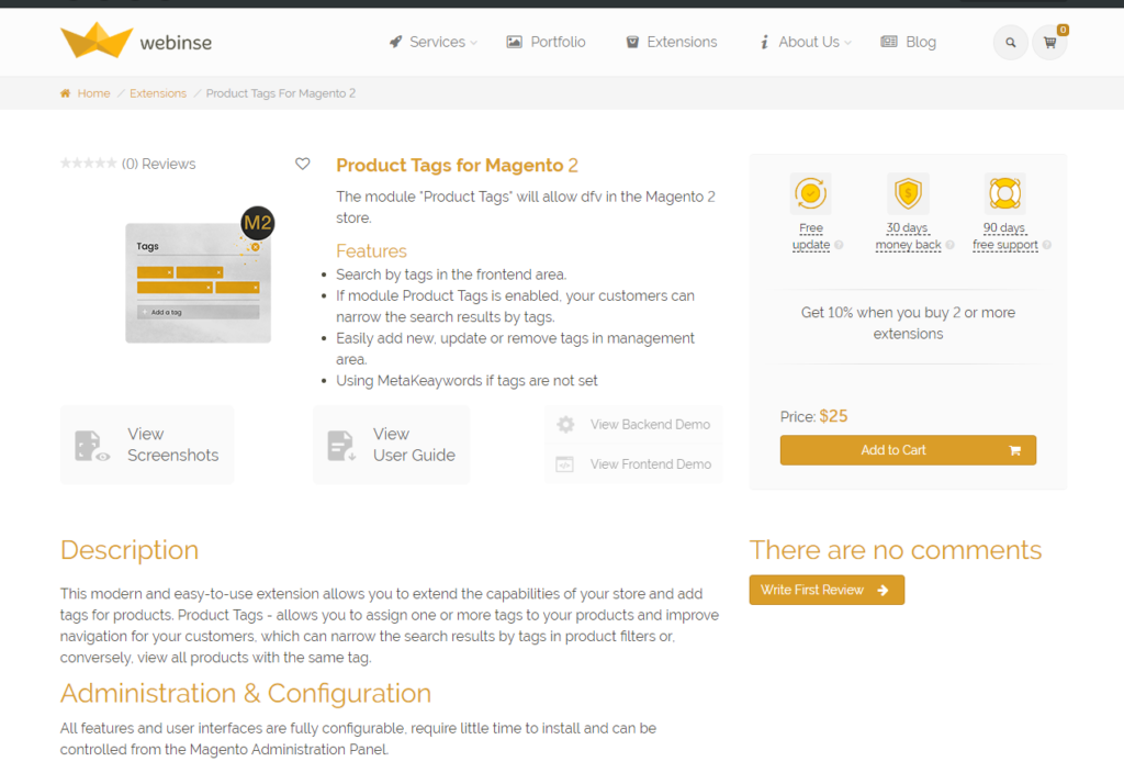 Product tags for Magento 2 by Webinse