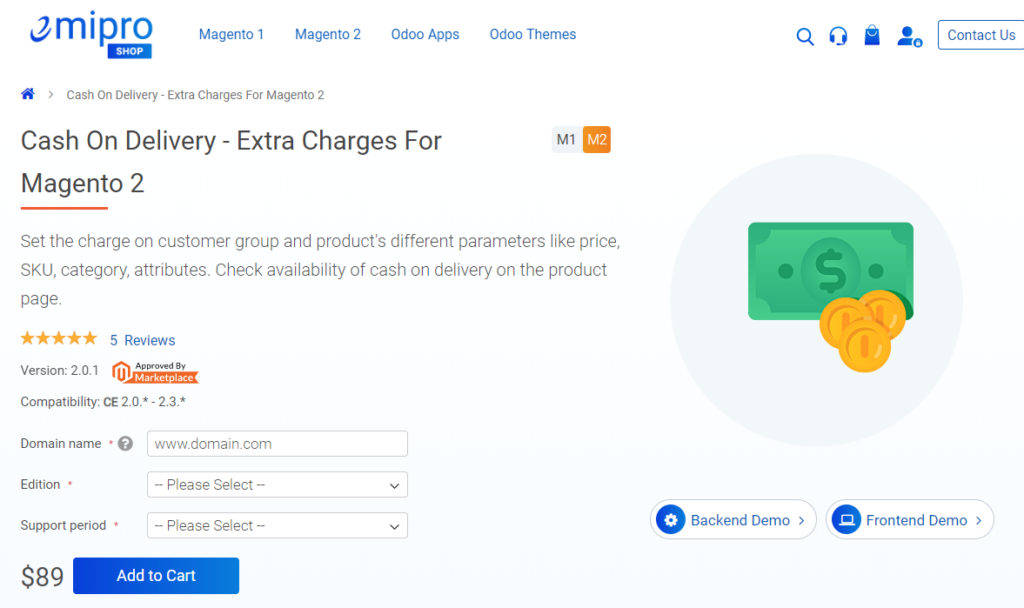 cash on delivery extra charges for magento 2