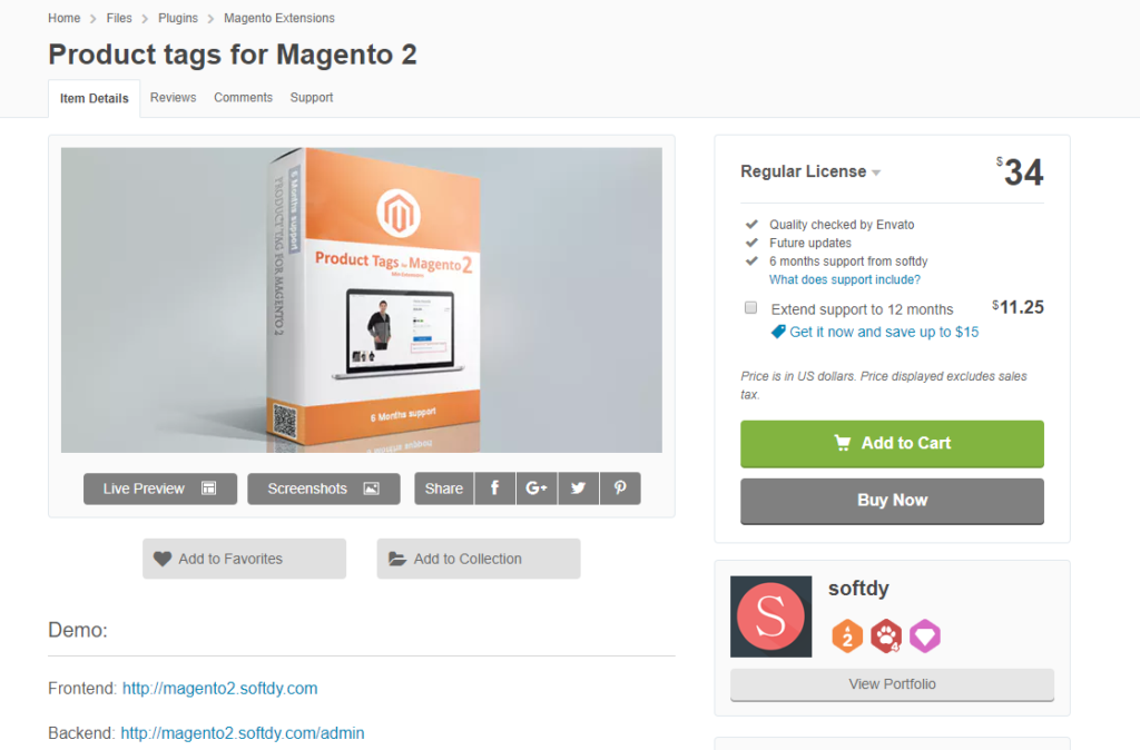 magento 2 product tag