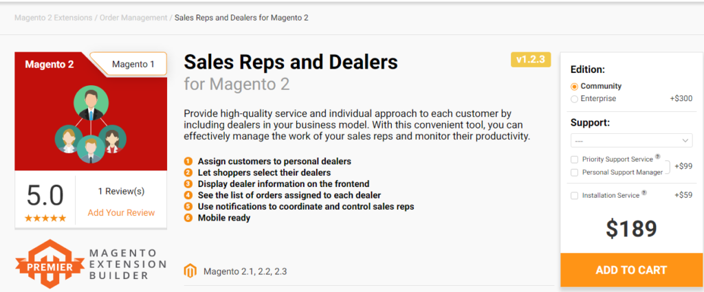 Sales Reps and Dealers for Magento 2