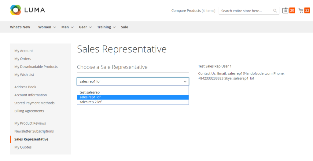 check sale rep info and change sale rep in customer account with magento 2 sales dealer extension
