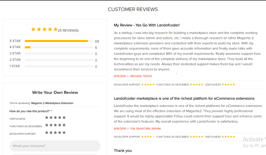 customer review Landofcoder magento 2 marketplace extension