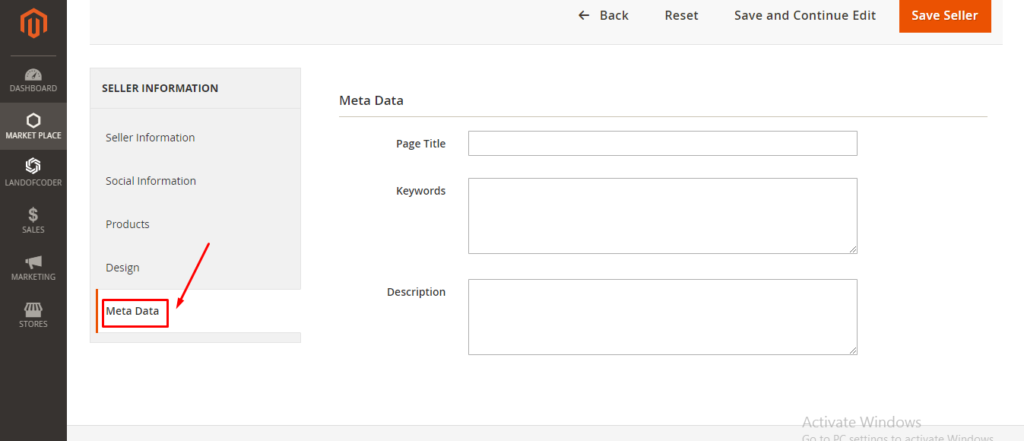 Meta data tab in Magento 2 marketplace module backend