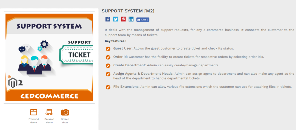 support system for magento 2