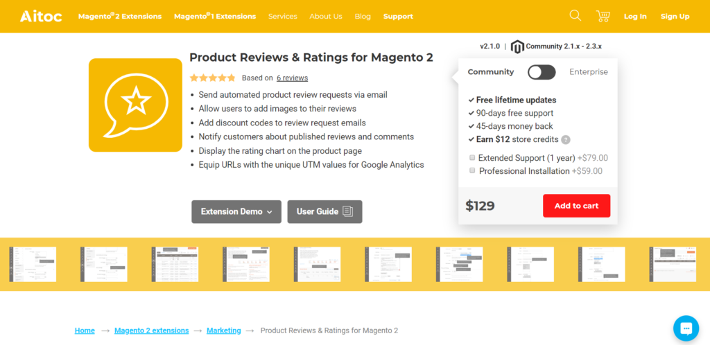 product reviews and ratings for magento 2