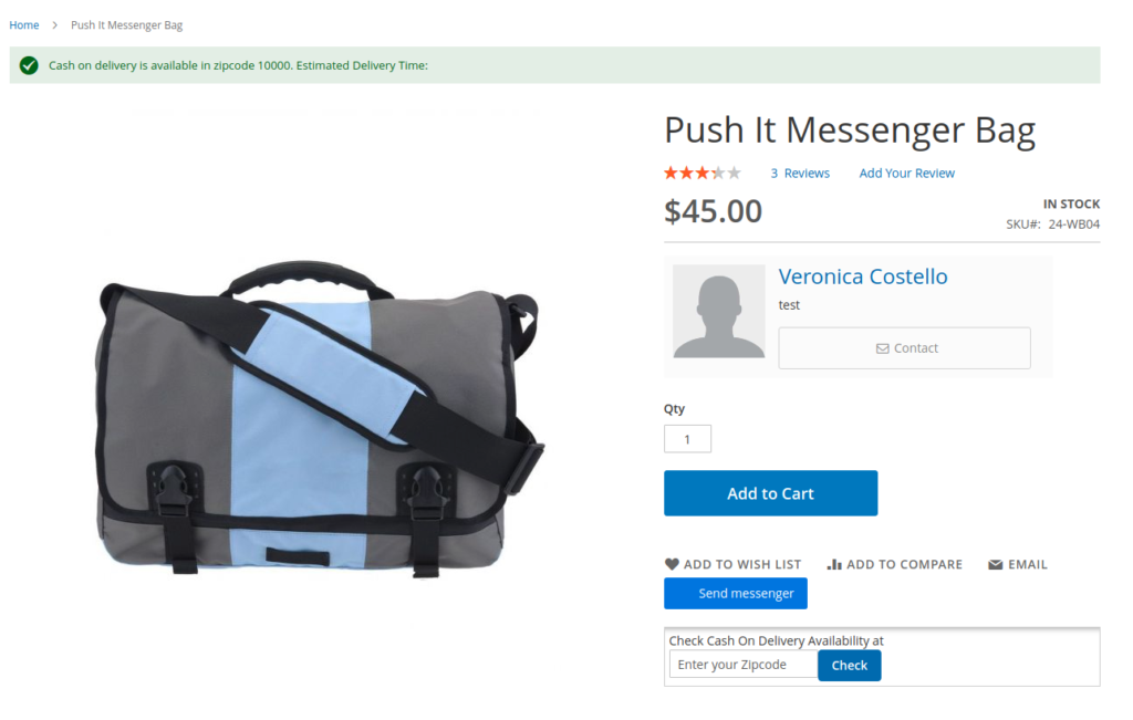 Check cash on delivery availability on the product page in magento 2