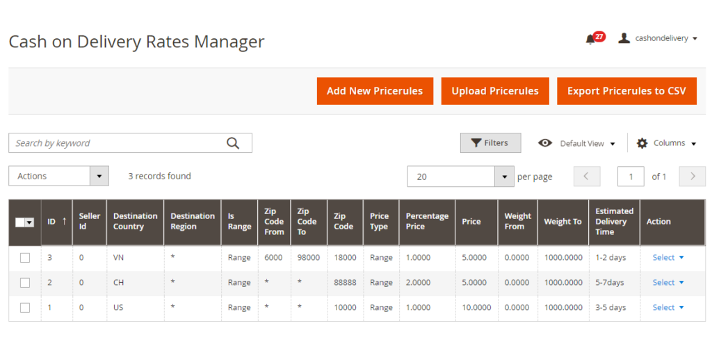 magento 2 cash on delivery rates manager