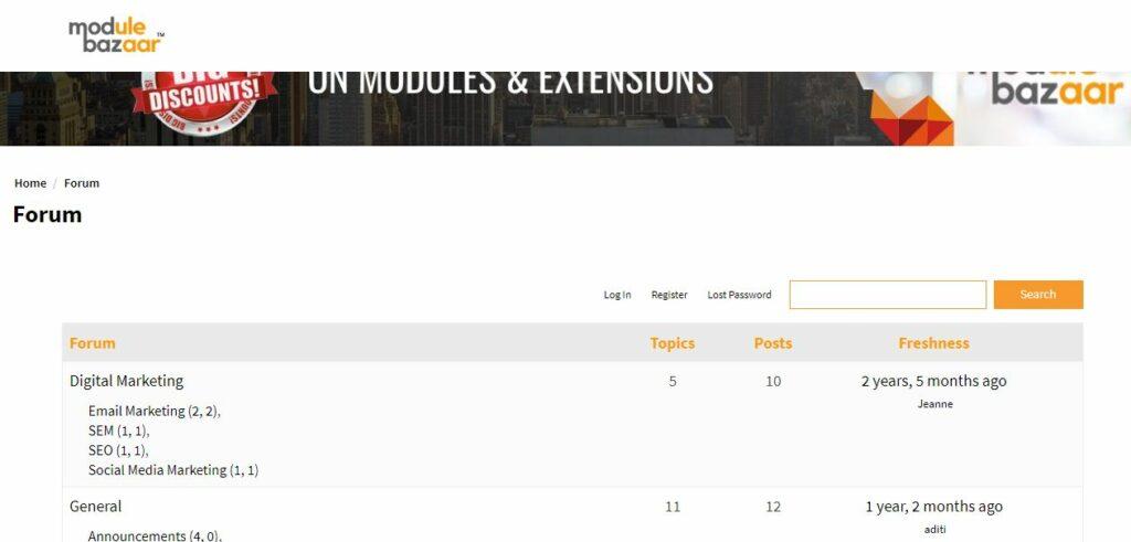 Module Bazaar support forum - Magento  forum