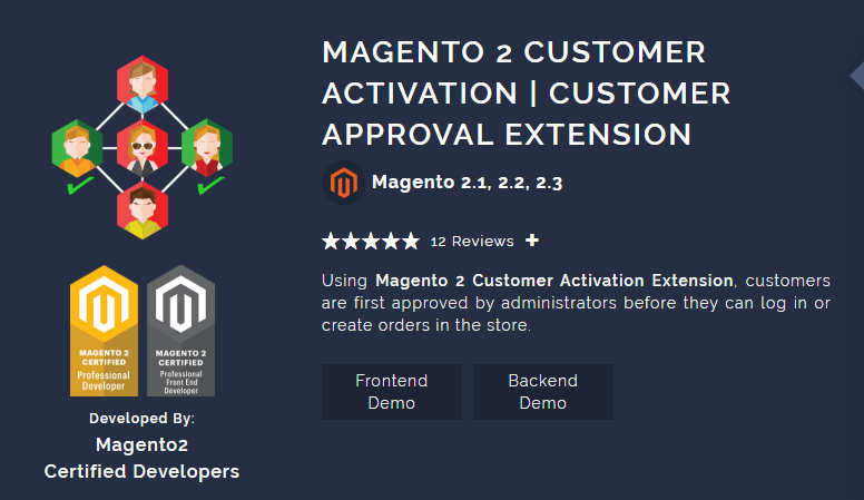 Magento 2 Customer Activation Customer approval extension
