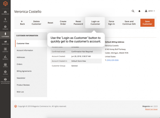 Illustration from the login as customer extension for magento 2