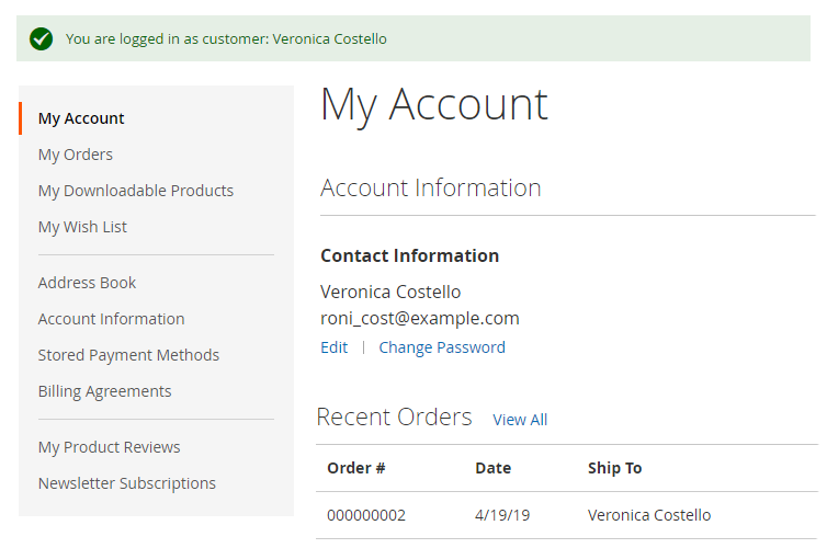my account page at login as customer extension