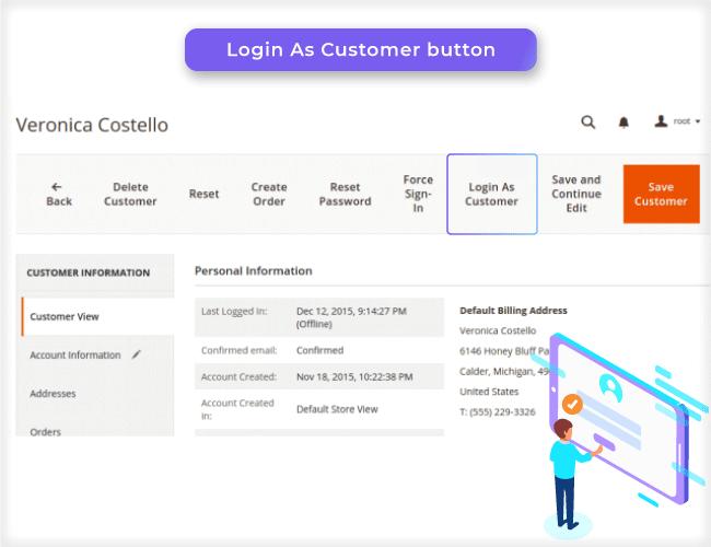 login as customer for magento 2 illustration