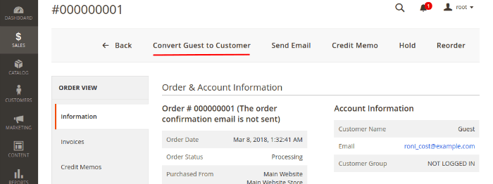convert guest to customer for magento 2