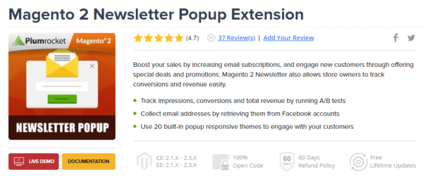 Magento 2 Newsletter Popup Extensions by Plumrocket