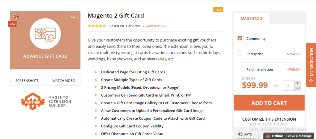 FME extension gift card