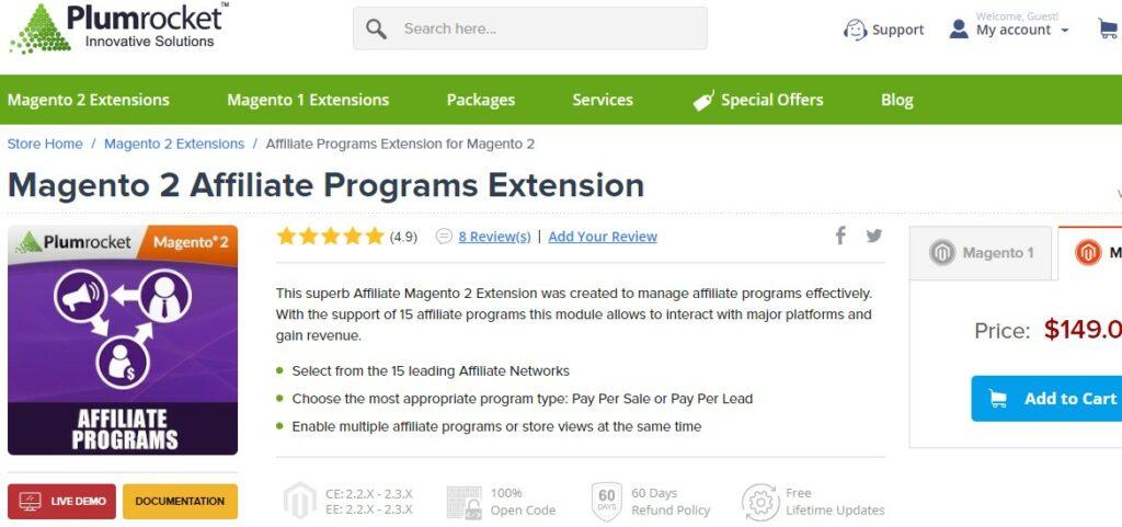 Magento 2 Affiliate Programs Extension   Plumrocket
