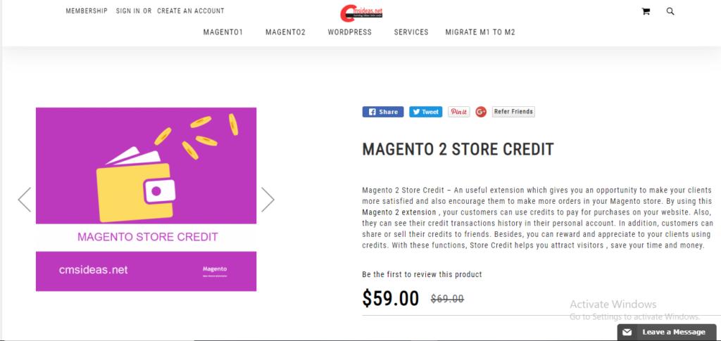 Cmsideas store credit
