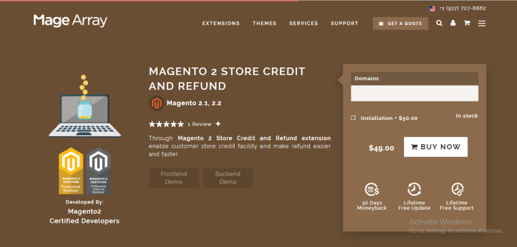 Magearray store credit