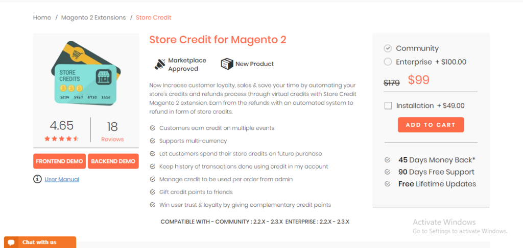 Magedelight store credit