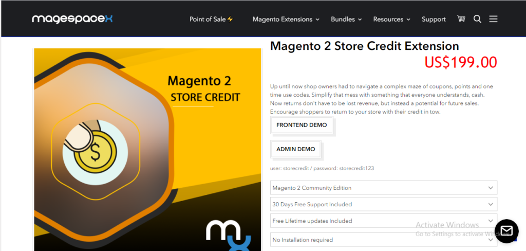 Magespacex store credit